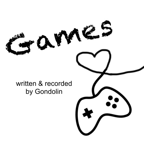 a game controller drawing on a white background and the cord forms a heart